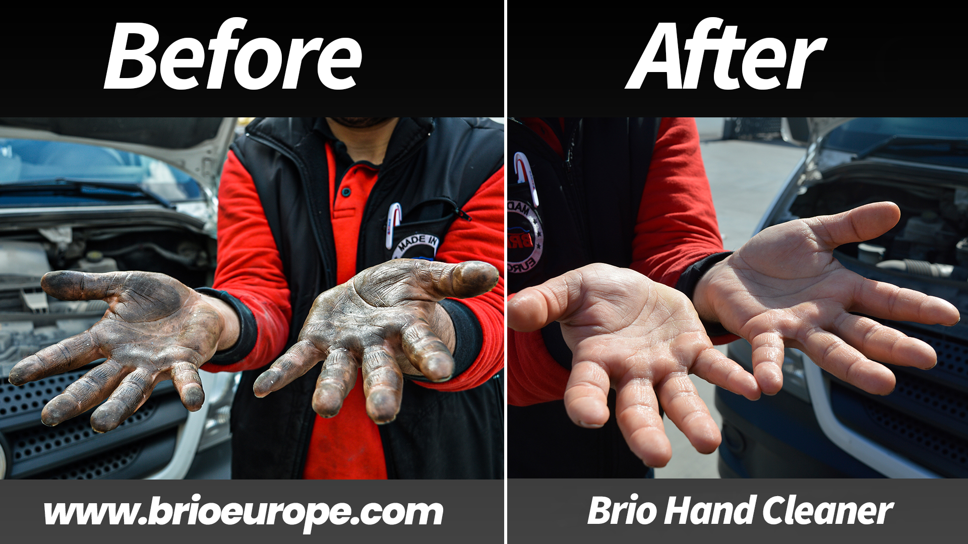 Before and After Hand Cleaner