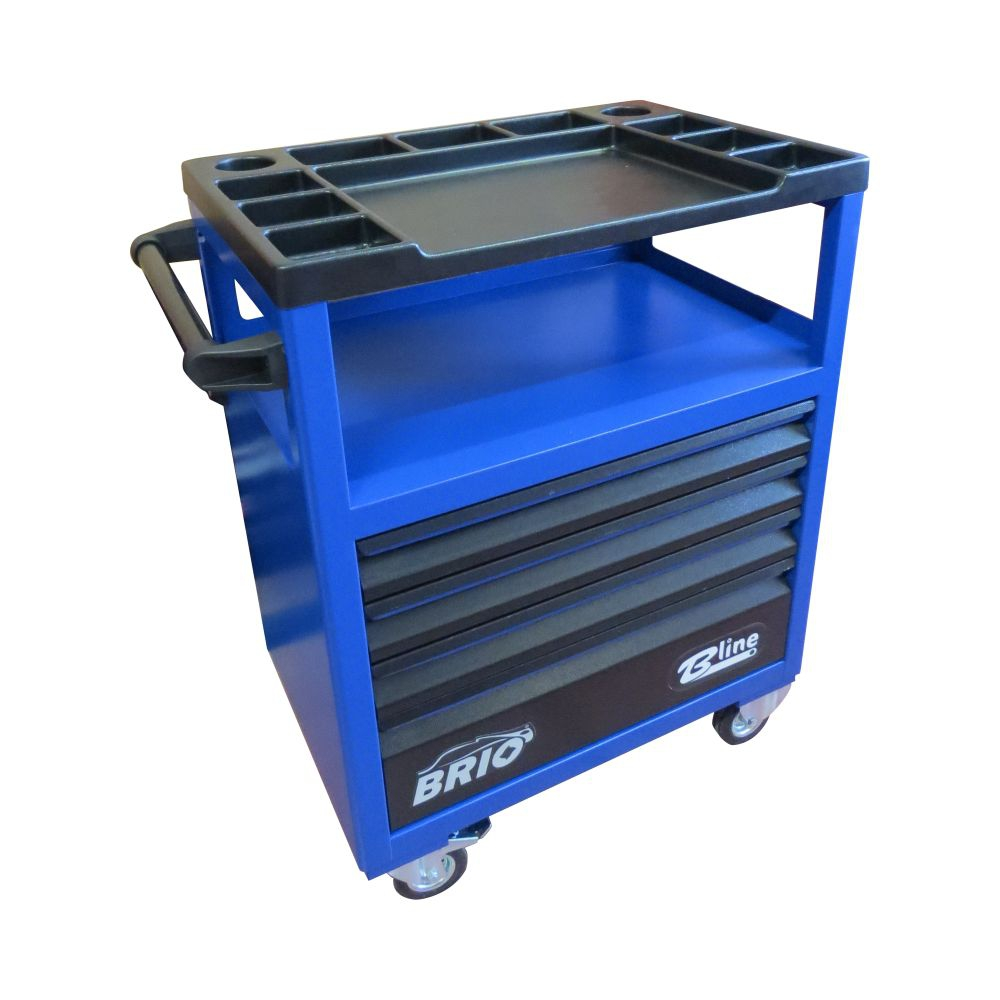 Tool Trolley 4 Drawers Blue Empty