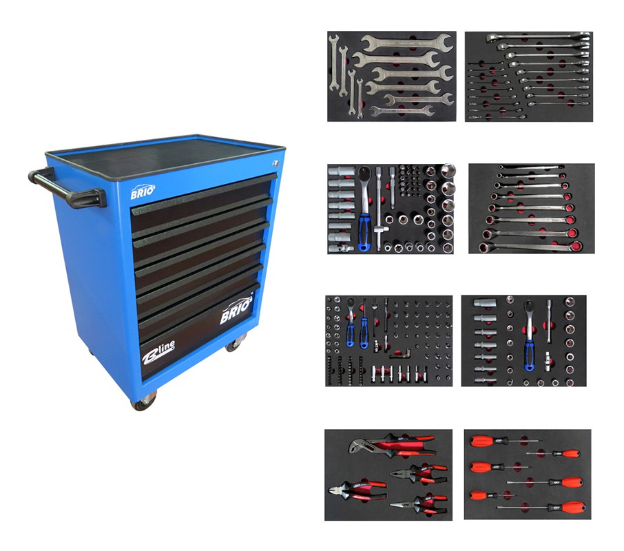 Tool Trolley 6 Drawers Blue Pro Full