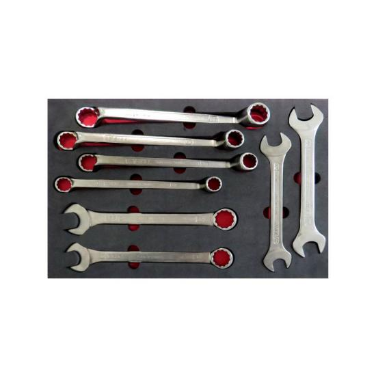 8 Piece Heavy Duty Double End - Ring - Combination Wrench Set with Foam Inlet