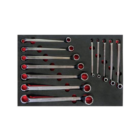 12 Piece Double-Ended Ring Wrench Set 6x7 - 30x32 with Foam Inlet