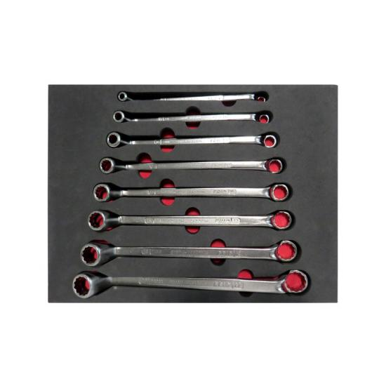 8 Piece Double-Ended Ring Wrench Set 6x7 - 20x22 with Foam Inlet