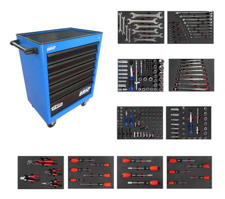 Tool Trolley 6 Drawers Blue Pro Plus Full