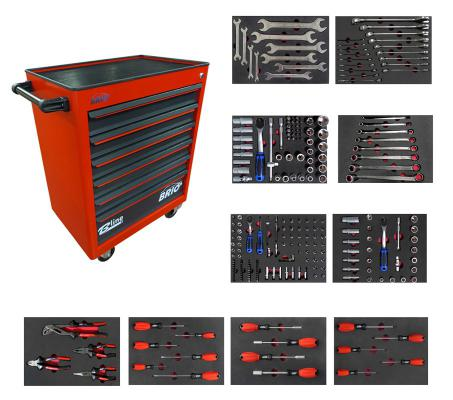 Tool Trolley 6 Drawers Red Pro Plus Full