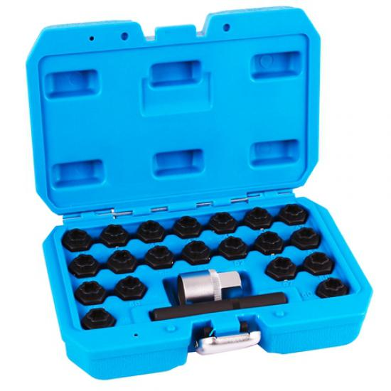 22 Piece 1/2 Rim Lock Socket Set for BMW