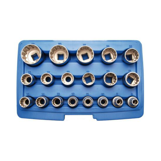 19 Piece Socket Set Gear Lock 12.5 mm 1/2 Drive